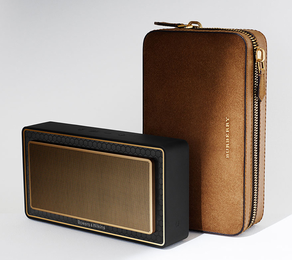 Bowers wilkins gold T7 Burberry luxe enceinte nomade bluetooth cuir