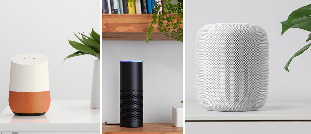 Google Home vs Amazon Echo vs Apple HomePod vs plantes vertes
