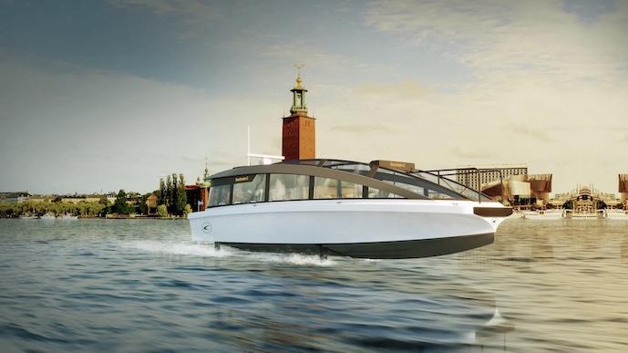 Candela C7 electric boat ferry foil flying 05